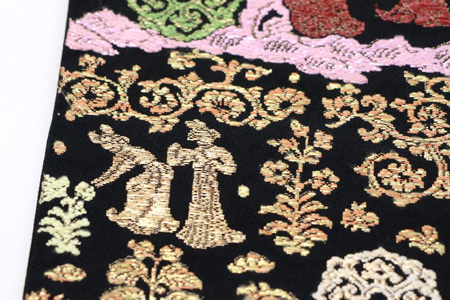 龍村平蔵製の黒地の袋帯