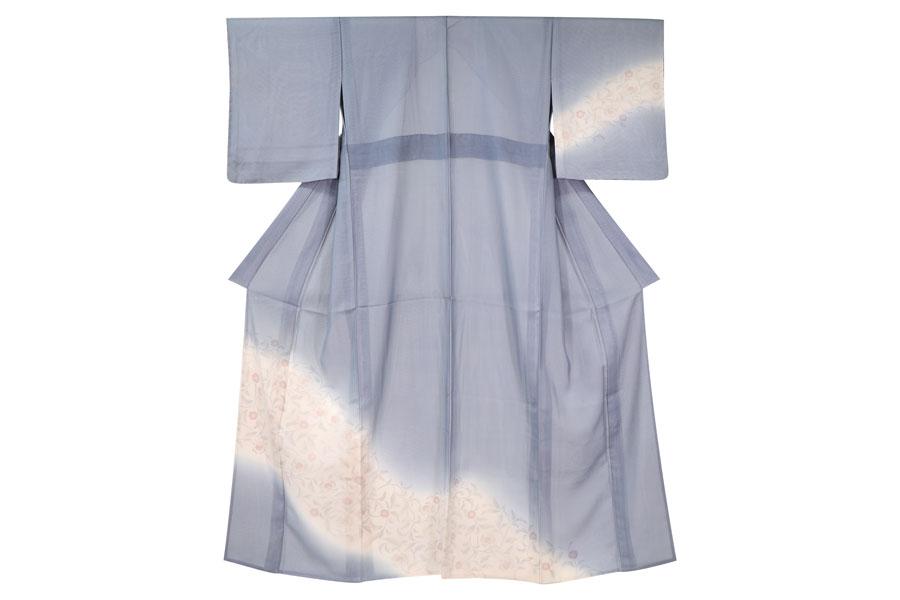 唐草文様の紗合わせの着物