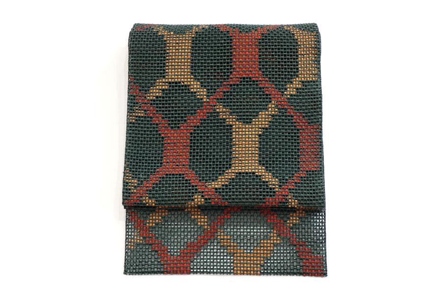 緑の羅織の夏の名古屋帯