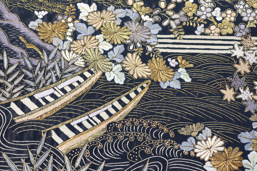 漆箔織の手刺繍の袋帯